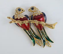VINTAGE ENAMEL AND RHINESTONE PARROT DUO PIN
