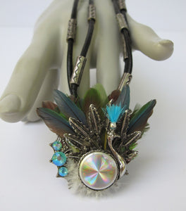 ALTERED CHICO'S PEACOCK TRIBAL NECKLACE FEATHERS