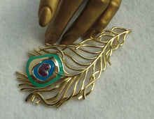VINTAGE PEACOCK FEATHER BROOCH BY MJ ENTERPRISES - LARGE
