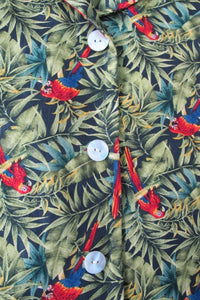 HERVE BERNARD SILK MACAW PARROT AND PALM JACKET