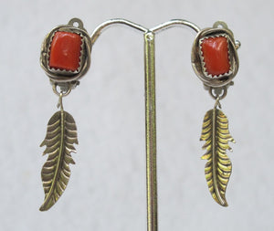 BEGAYE NATIVE AMERICAN STERLING AND CORAL FEATHER EARRINGS