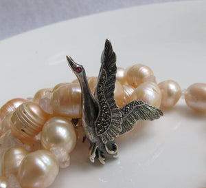 STERLING AND MARCASITE FLYING DUCK / GOOSE PIN