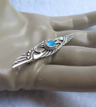 VINTAGE STERLING SILVER TURQUOISE HERON PAIR PIN FROM GERMANY