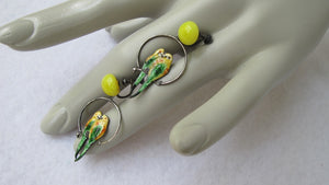 VINTAGE JMF CO. STERLING AND ENAMEL LOVEBIRD HOOP EARRINGS