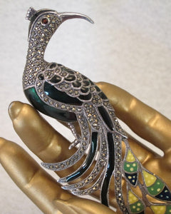 ART DECO STERLING MARCASITE RUBY MARCASITE PEACOCK PIN