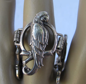 VINTAGE STERLING PARROT IN RING BRACELET