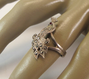 VINTAGE STERLING MARCASITE PEACOCK RING SIZE SEVEN