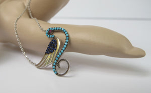 STERLING SILVER DOVE NECKLACE WITH RUBY TURQUOISE SAPPHIRE