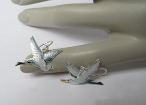 STERLING SILVER FLYING HERON EARRINGS