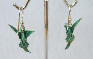 STERLING SILVER DIMENSIONAL HUMMINGBIRD EARRINGS