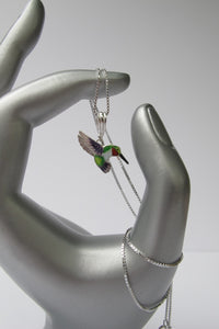 STERLING SILVER RUBY-THROAT HUMMINGBIRD NECKLACE