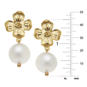 Dogwood Cotton Pearl Drop Earrings