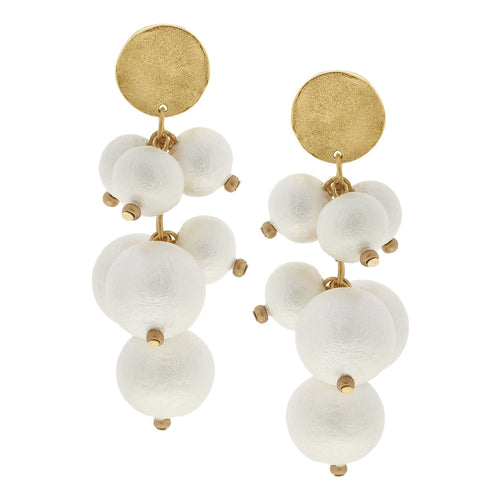 Cotton Pearl Cluster Earrings