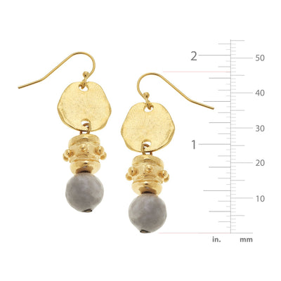 Silver Lace Agate Drop Earrings