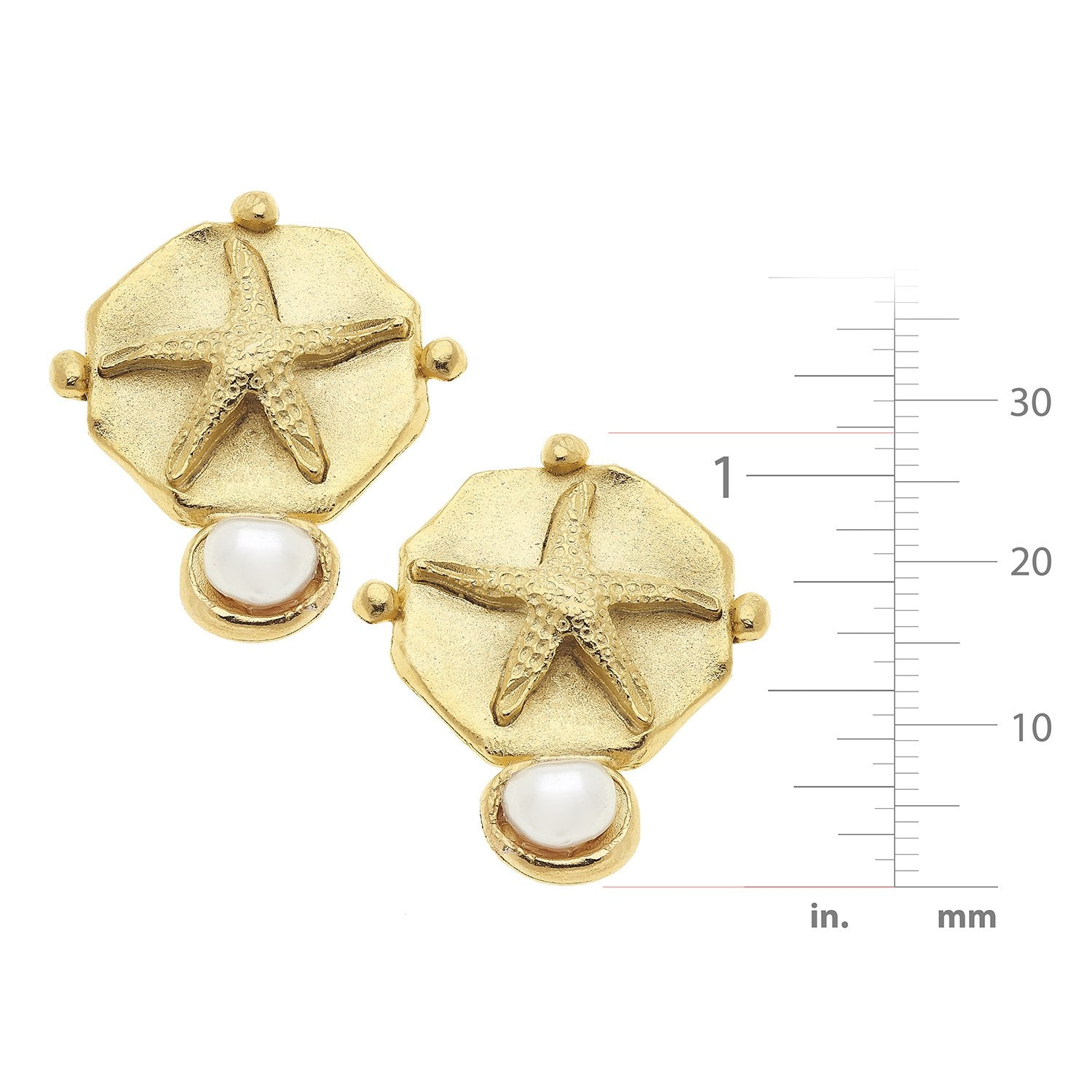 Gold Starfish with Pearl Earrings