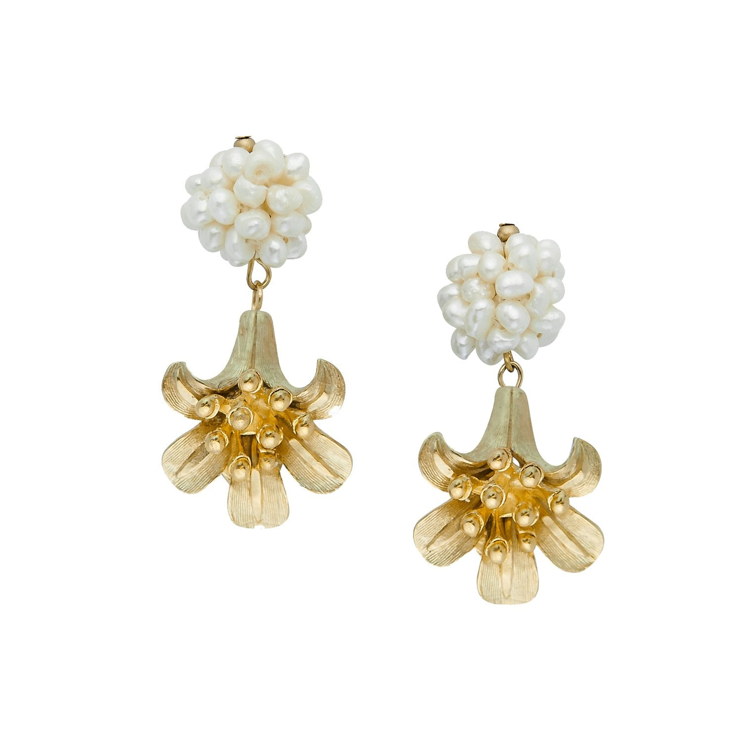 Pearl Cluster Drop Lily Earrings