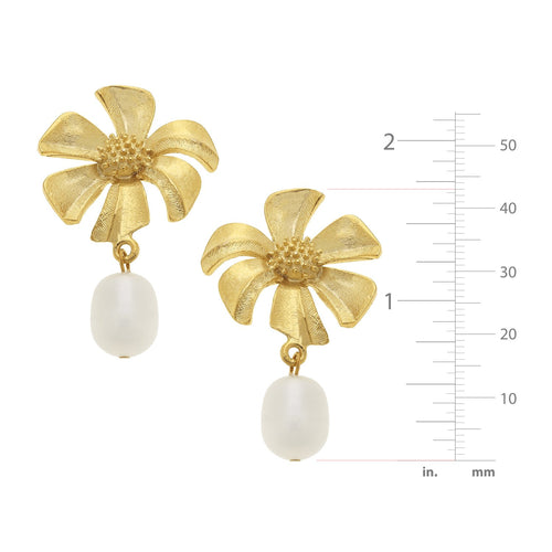 Tropical Flower Pearl Earrings