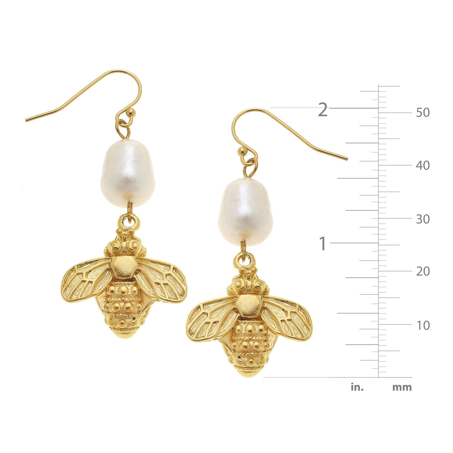 Pearl and Bee Drop Earrings