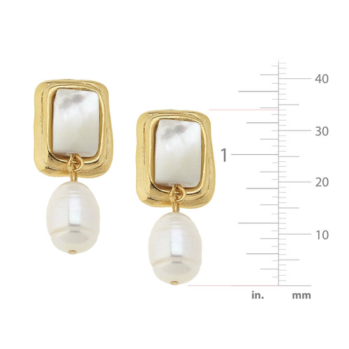 Stone Rectangle + Pearl Earrings