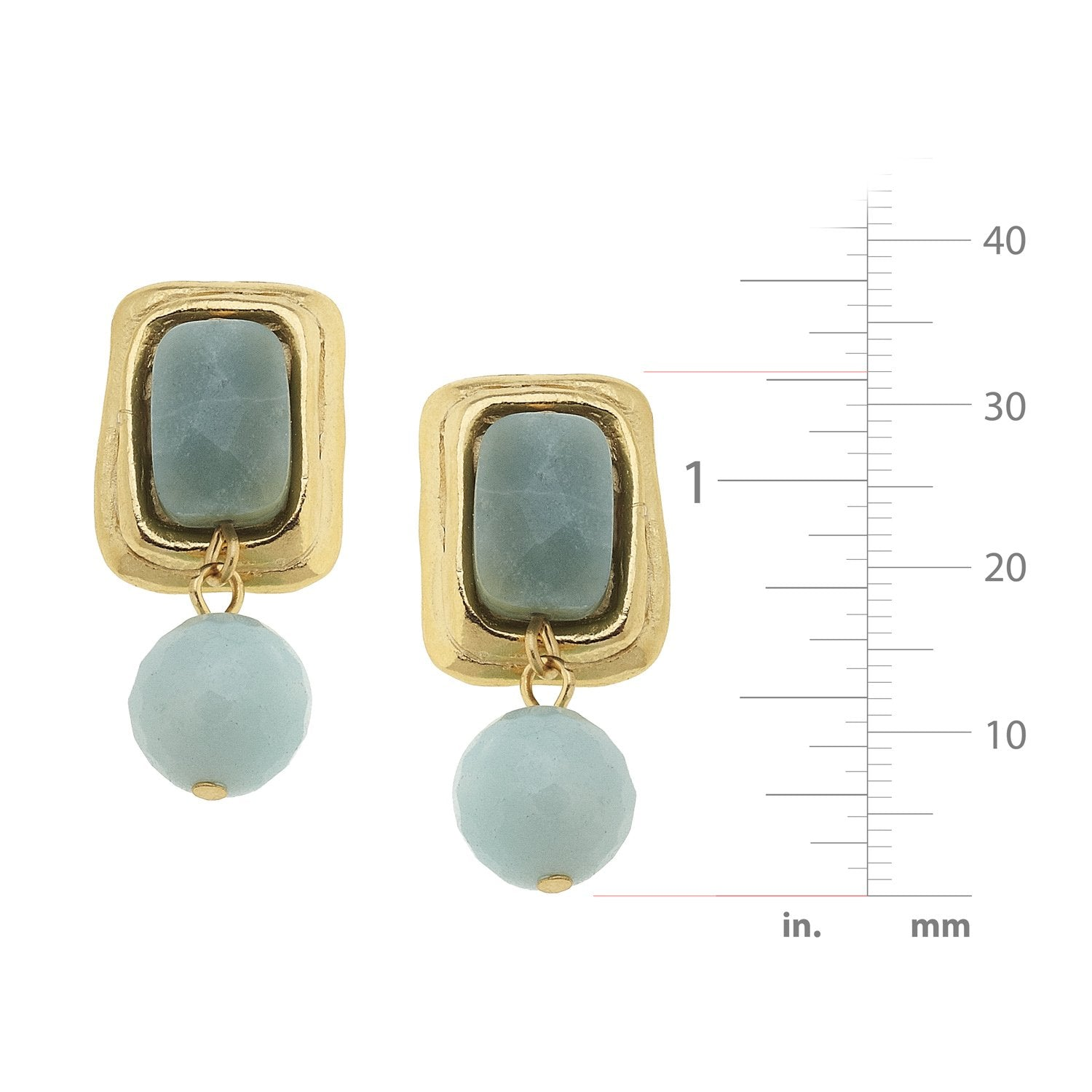 Stone Rectangle + Drop Earrings
