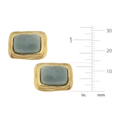 Rectangle Stone CLIP Earrings