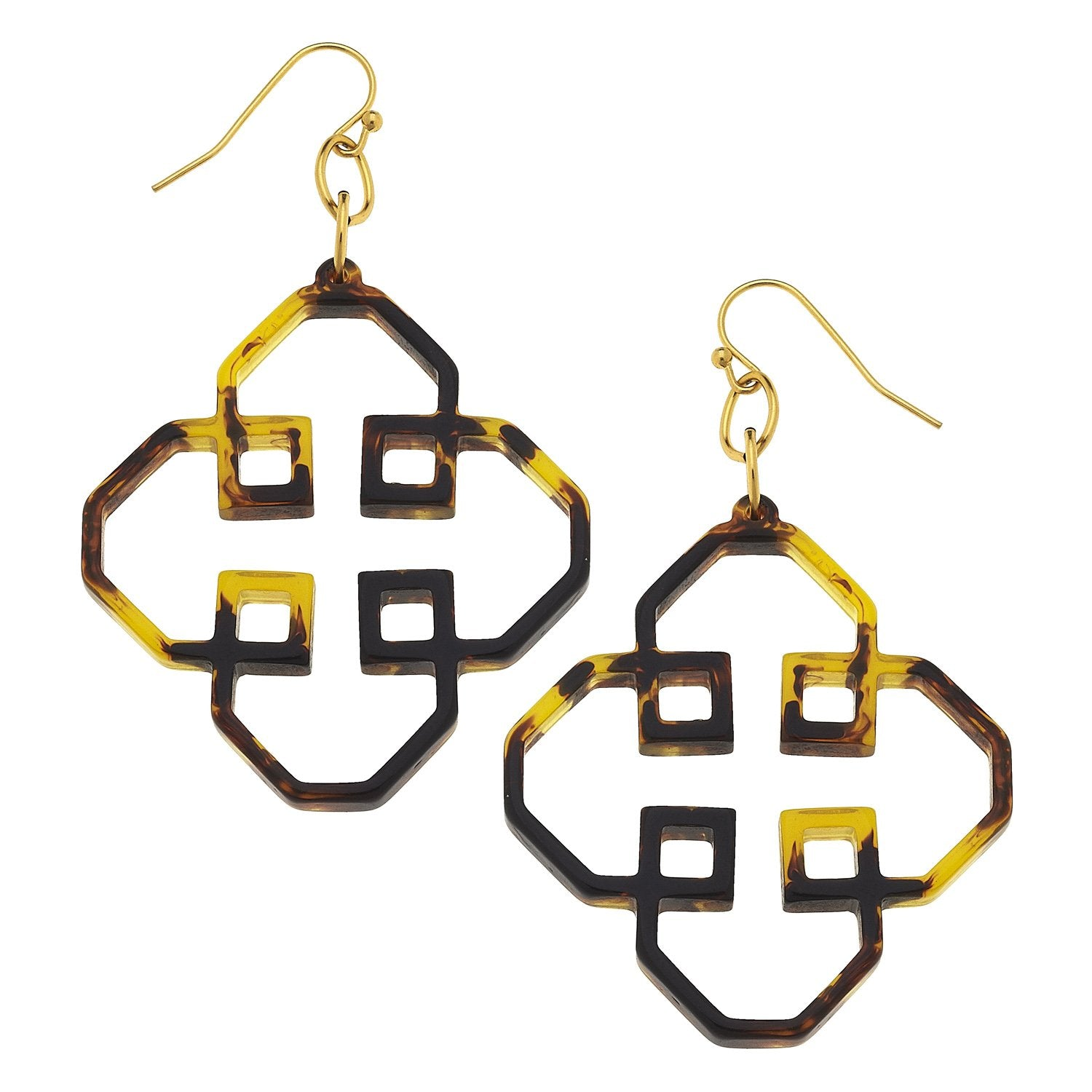 Geometric Tortoise Earrings