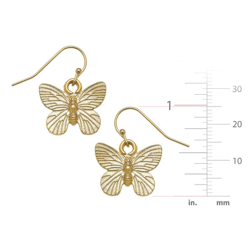 Gold Butterfly Dangle Earrings