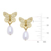Gold Butterfly + Pearl Earrings
