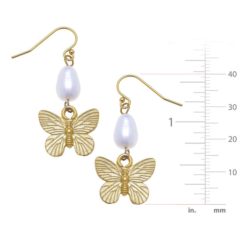 Gold Butterfly + Pearl Dangle Earrings