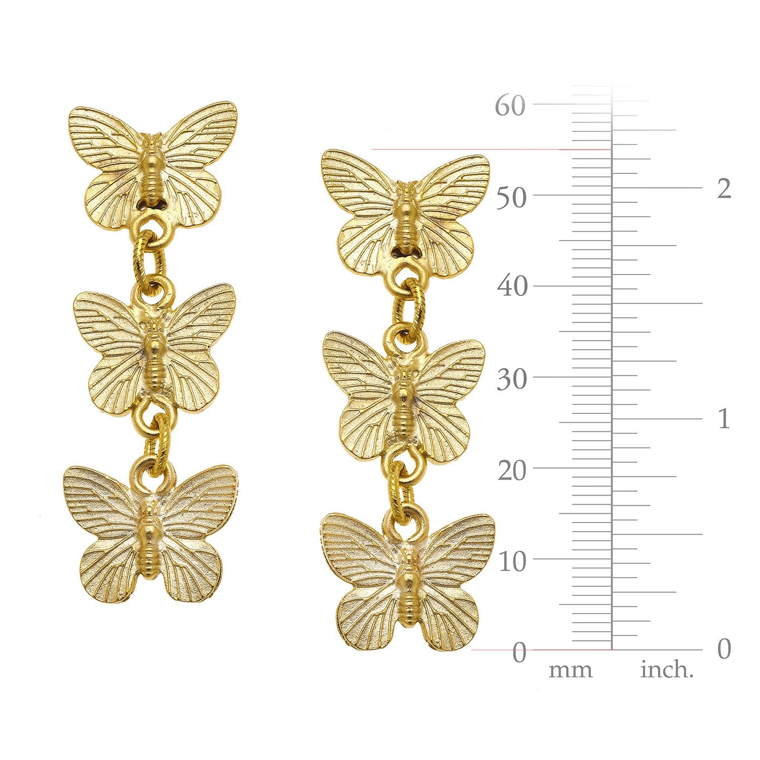 Linked Butterfly Dangle Earrings