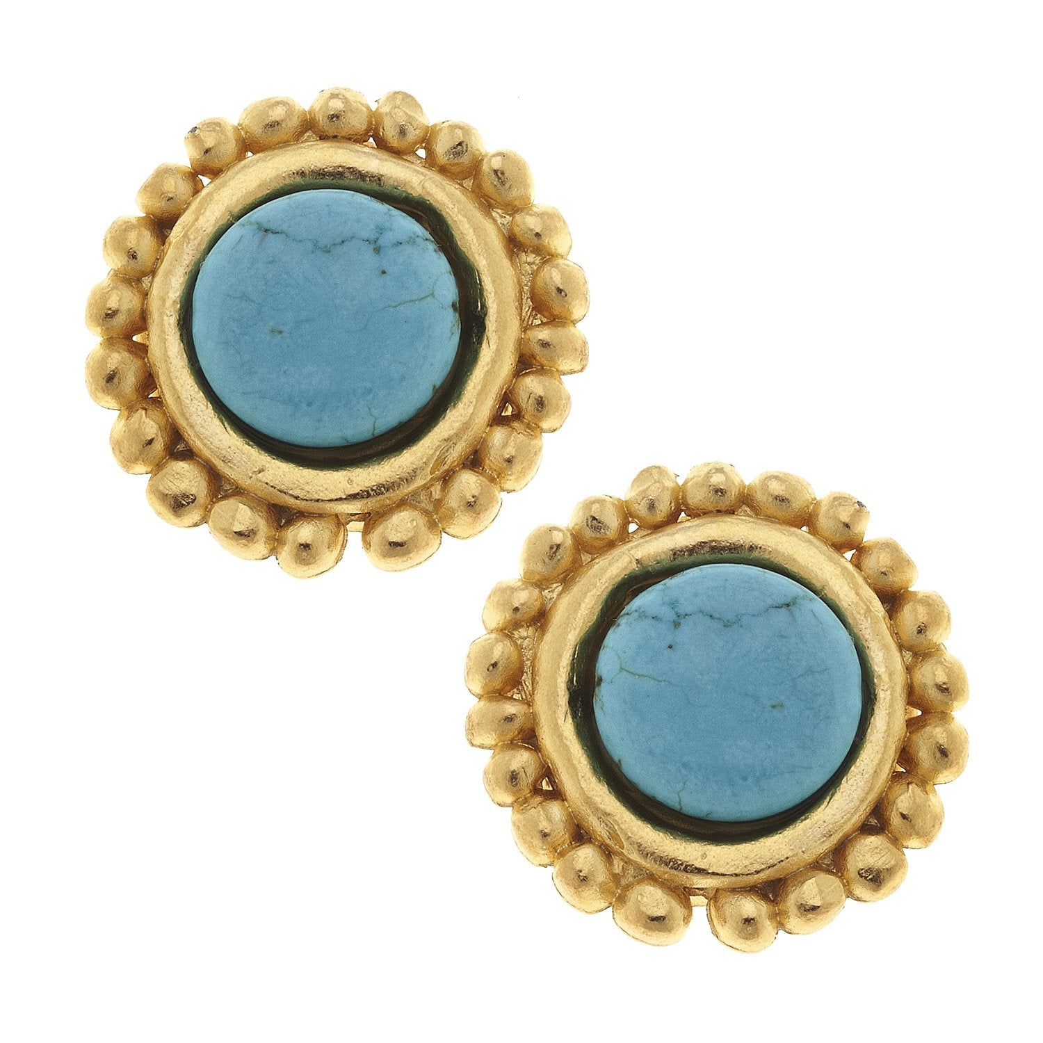 Turquoise Dotted Stud Earrings