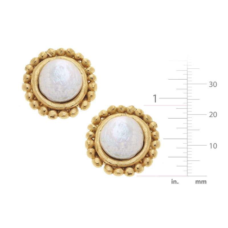 Dotted Coin Pearl Earrings