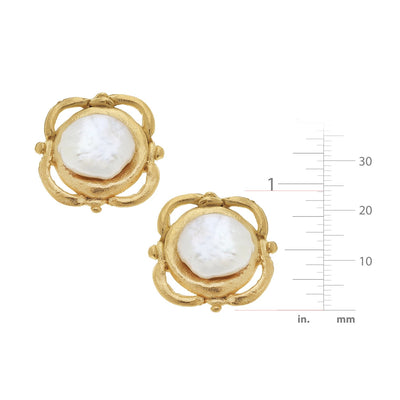 Scroll Coin Pearl CLIP Earrings