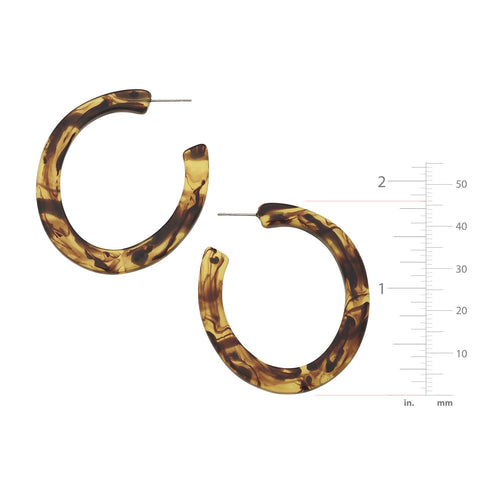 Medium Tortoise Flat Hoop Earrings