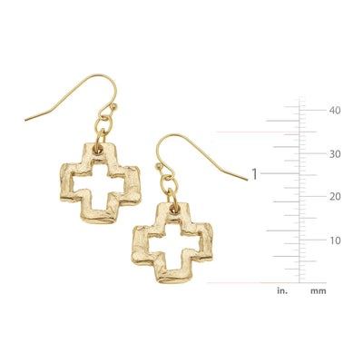 Small Open Cross Earrings