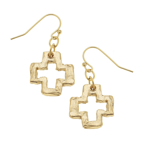 Maltese Cross Pearl Earrings