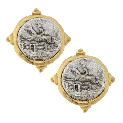 Mixed Metal Equestrian Intaglio Studs