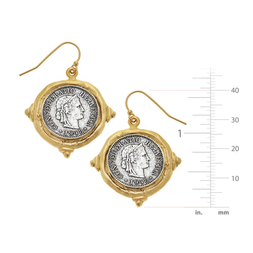Mixed Metal French Franc Coin Earrings
