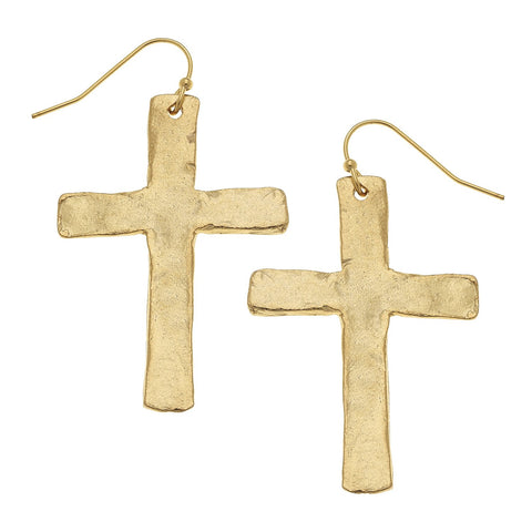 Cross + Pearl Earrings