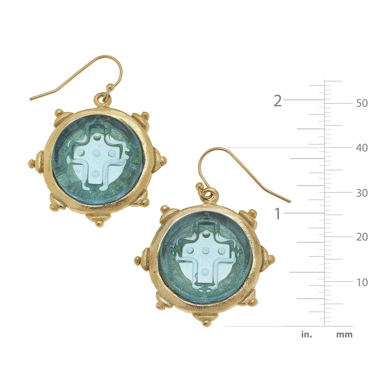 Venetian Glass Cross Earrings