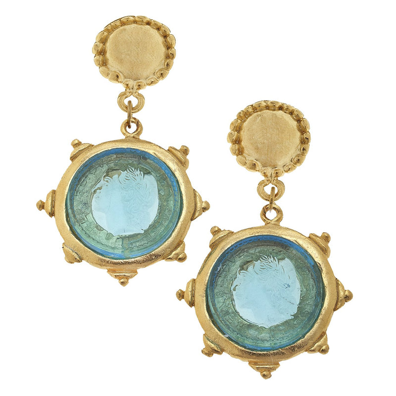 Venetian Glass Cab Earring - Coin
