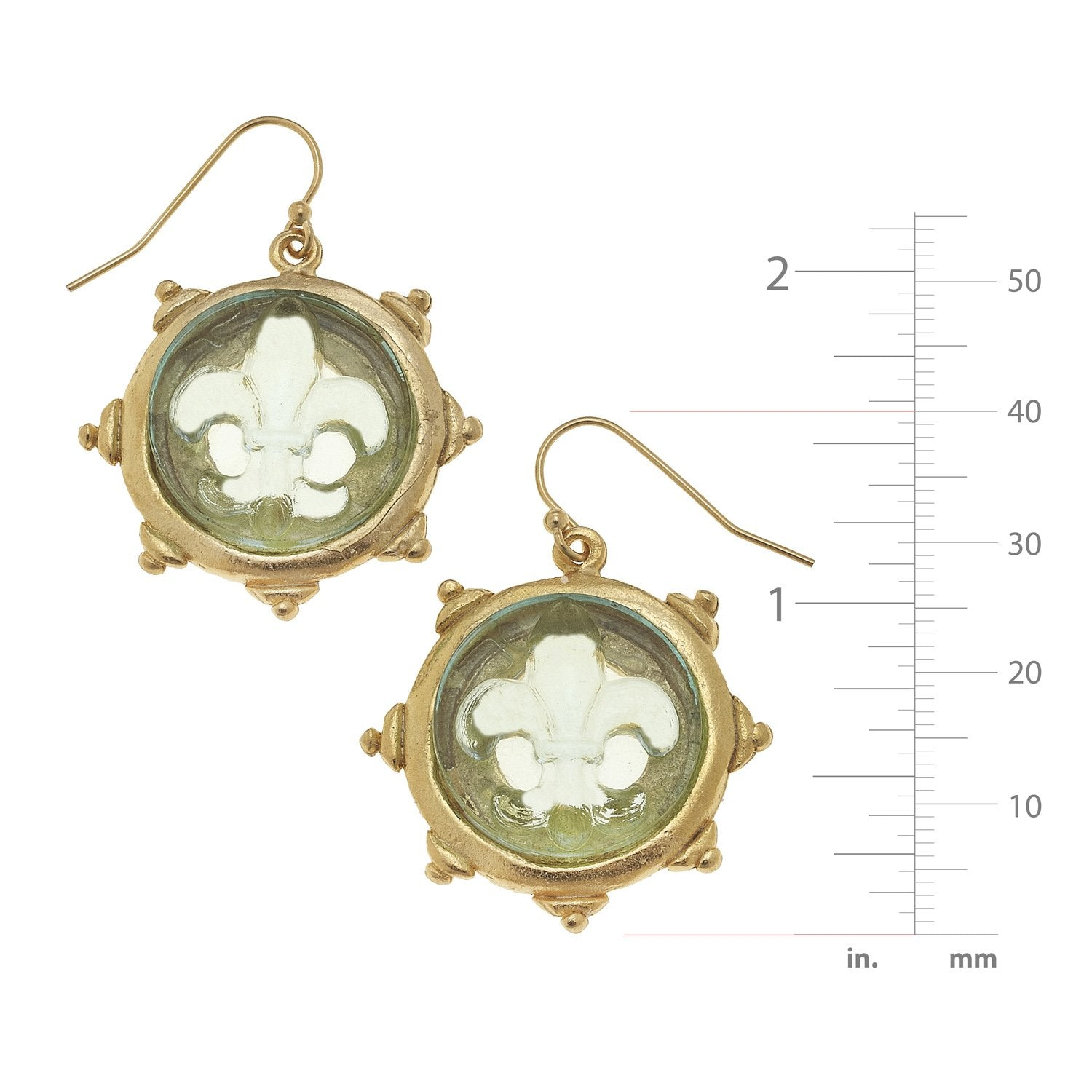 Venetian Glass Fleur-De-Lis Earrings