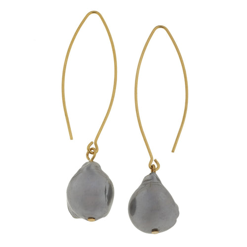 Grey Baroque Pearl Threader Earrings