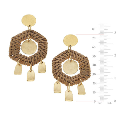 Dark Rattan Geometric Earrings