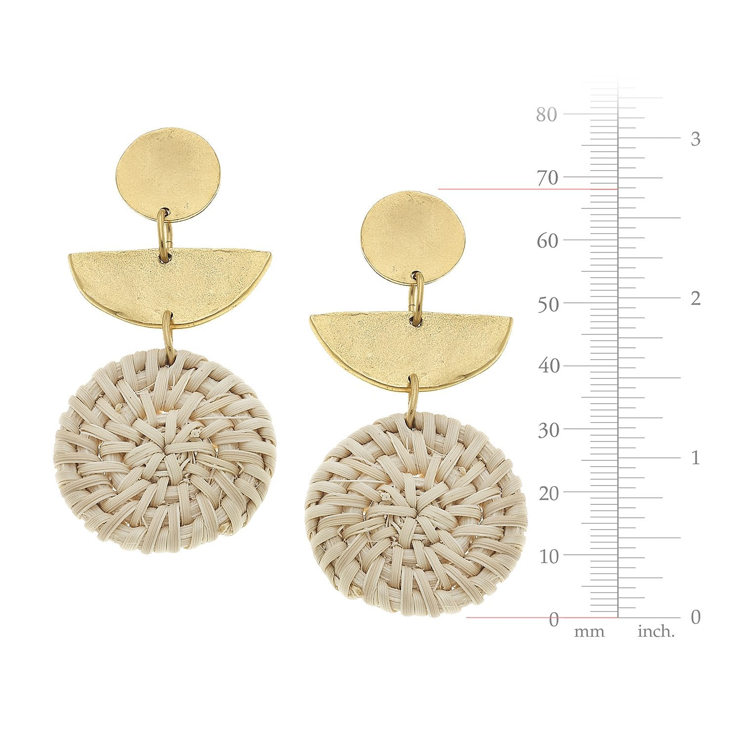 Half Moon Rattan Earrings