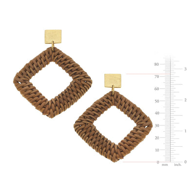 Dark Rattan Square Earrings