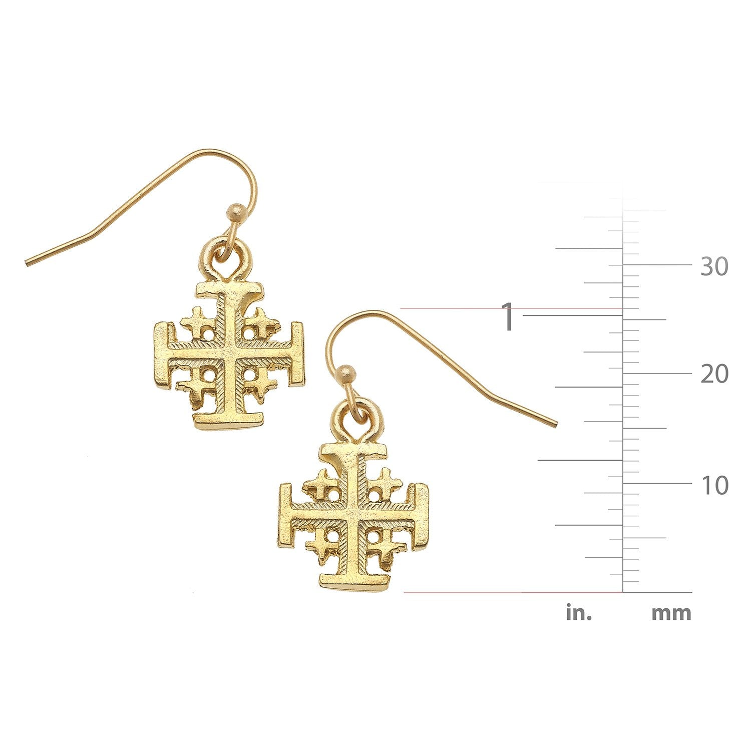 Jerusalem Cross Dainty Dangle Earrings