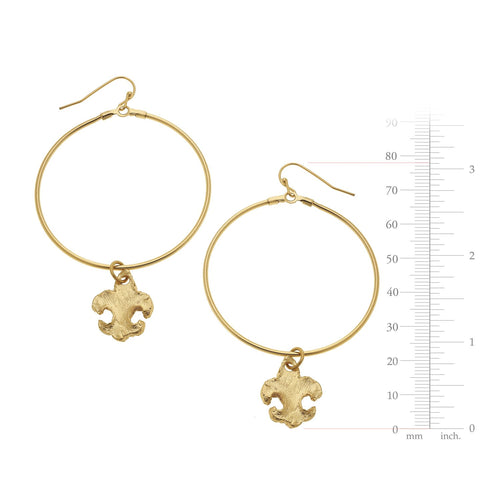 Large Circle Fleur-de-lis Earrings