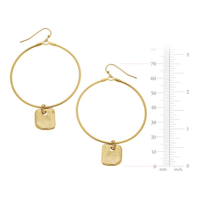 Large Circle Square Earrings