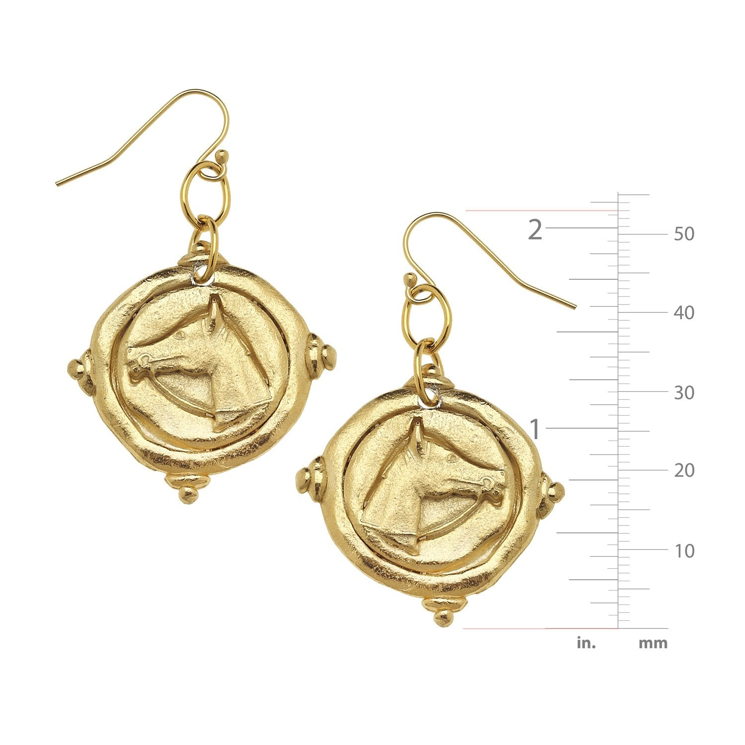 Horse Head Intaglio Earrings